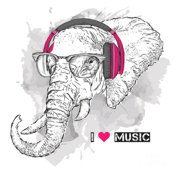 Wall Art - Digital Art - Illustration Of Elephant Hipster by Sunny Whale