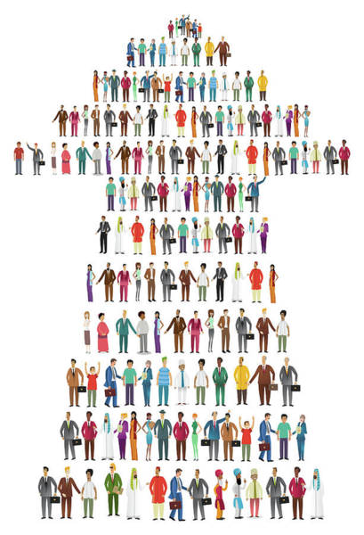 Wall Art - Photograph - Illustration Of People Standing In Arrow Shape by Fanatic Studio / Science Photo Library