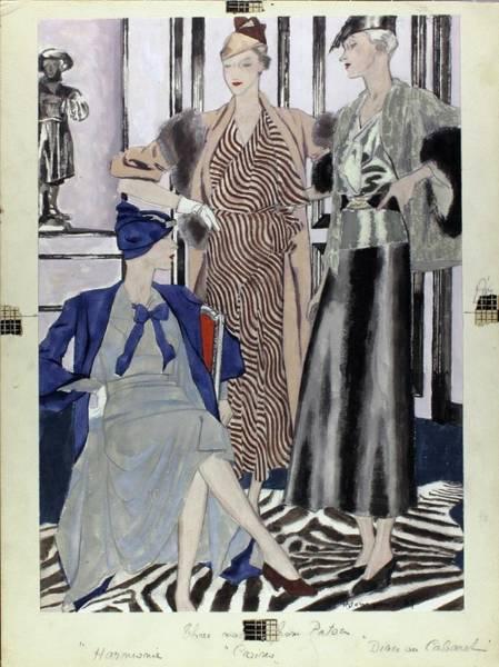 Coastline Digital Art - Illustration Of Women In Patou Dresses by Pierre Mourgue