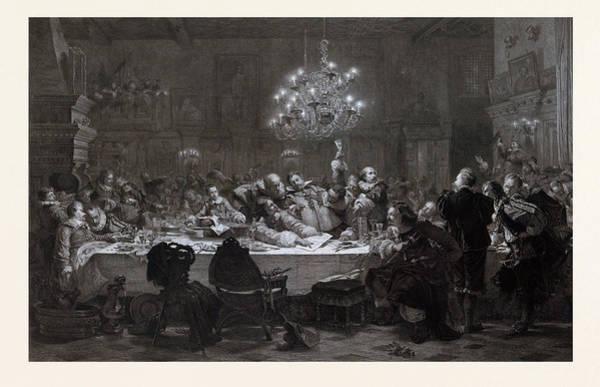 Prepare Drawing - In 1634 Wallenstein Convoked Around Fifty Officers In Pilsen by Czech School