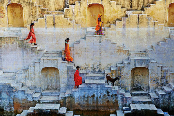 Photograph - India, Rajasthan, Jaipur, Water Tank by Tuul & Bruno Morandi