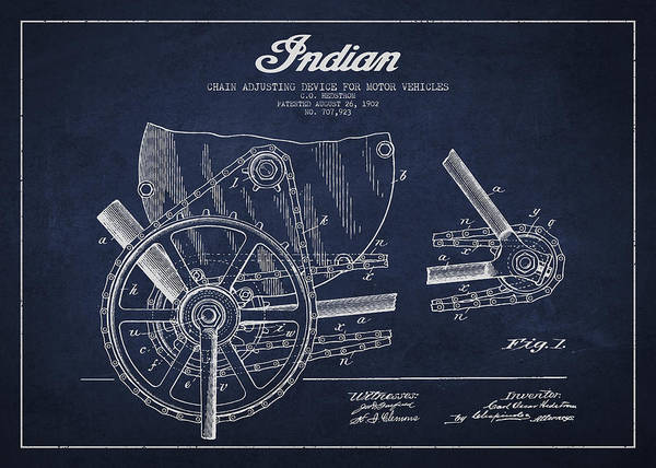Wall Art - Digital Art - Indian Motorcycle Patent From 1902 by Aged Pixel