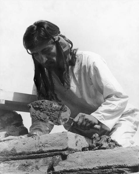 Trowel Photograph - Indians Building Missions by Underwood Archives Onia