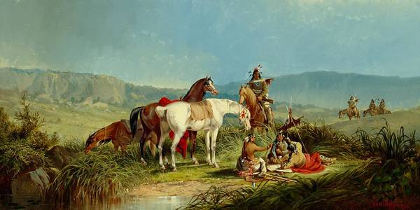 Territory Painting - Indians Playing Cards by John Mix Stanley