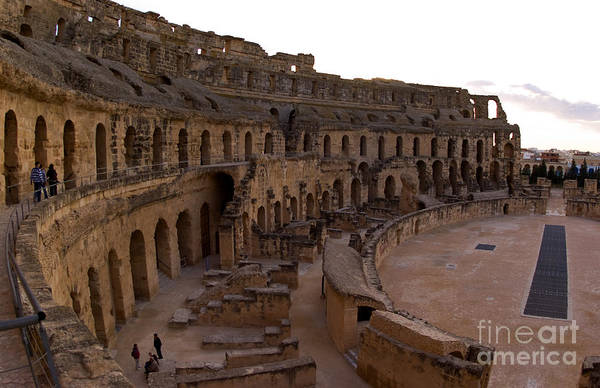 El Jem Photograph - Inside El Jem Roman Amphitheater by Bill Bachmann
