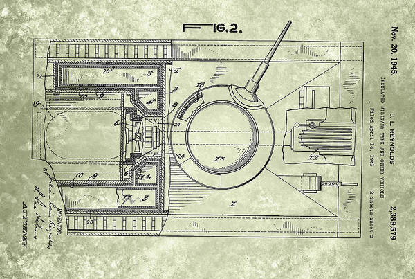 Painting - Insulated Military Tank Patented On 1945 by Celestial Images