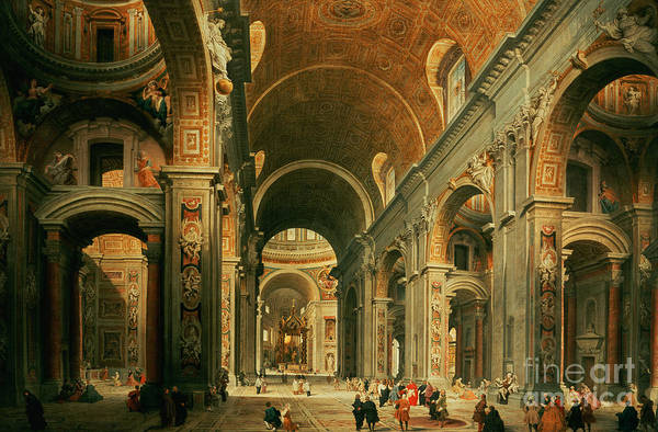 Italian Architecture Painting - Interior Of St Peters In Rome by Giovanni Paolo Panini