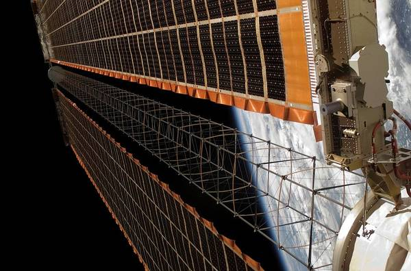 Iss Photograph - International Space Station Solar Array by Nasa/science Photo Library