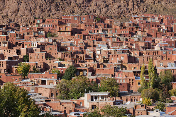 Central Asia Photograph - Iran, Abyaneh, Elevated Village View by Walter Bibikow