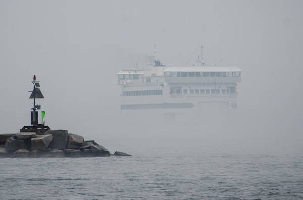 Photograph - Island Home In Fog by Steve Myrick