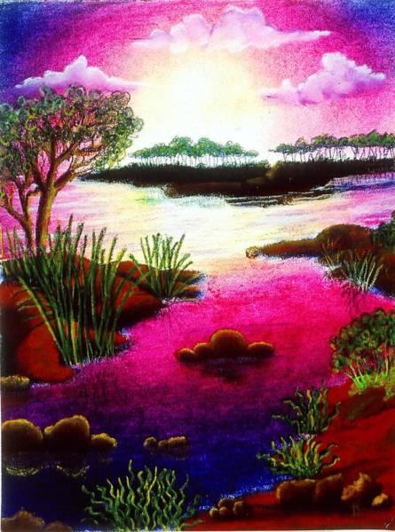 Drawing - Island Sunset by Karen Buford