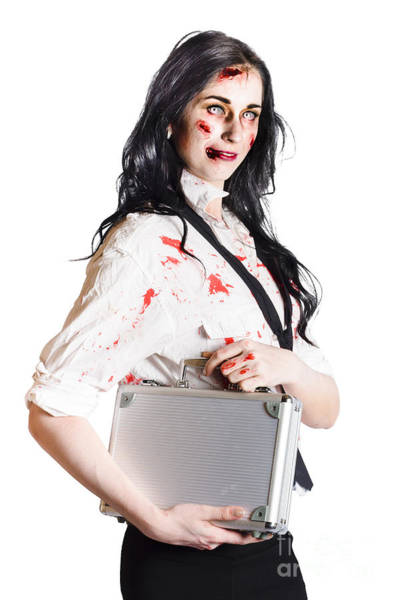 Weary Photograph - Isolated Zombie Businesswoman On White by Jorgo Photography - Wall Art Gallery