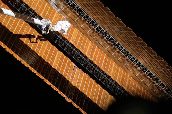Solar Panels Photograph - Iss Solar Array Repair by Nasa/science Photo Library