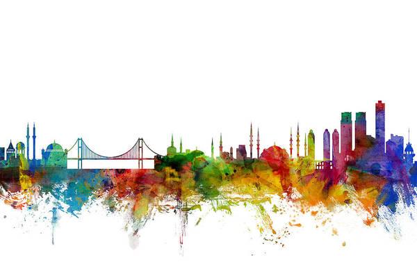 Skyline Wall Art - Digital Art - Istanbul Turkey Skyline by Michael Tompsett