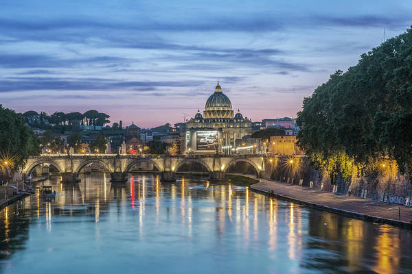Wall Art - Photograph - Italy, Rome, Tiber River Sunset by Rob Tilley