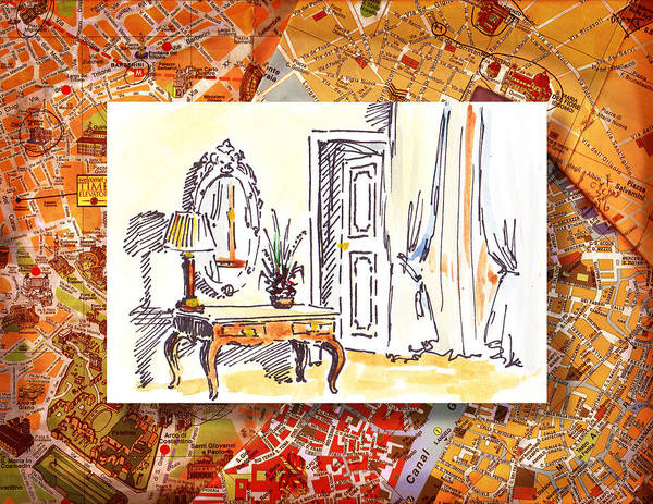 Sketching Painting - Italy Sketches Venice Hotel by Irina Sztukowski