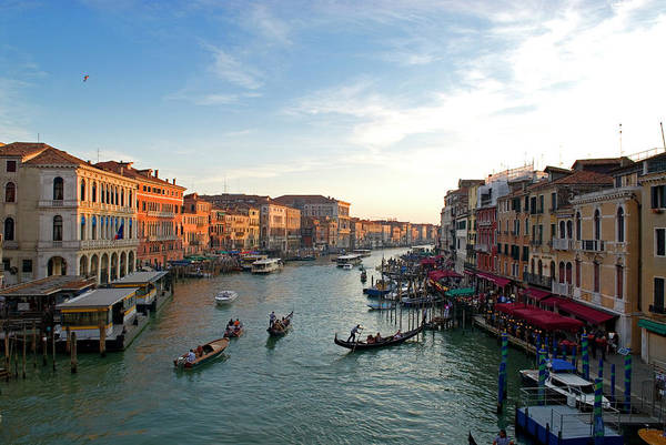 Boat Ride Wall Art - Photograph - Italy, Venice The Bustling Riverfront by David Noyes
