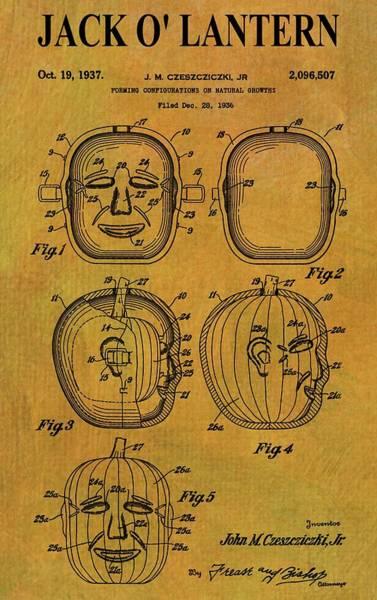 Digital Art - Jack O' Lantern Patent by Dan Sproul