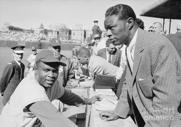 Jackie Robinson Wall Art - Photograph - Jackie Robinson And Nat King Cole At Wrigley Field by The Harrington Collection