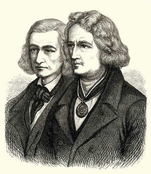 Wall Art - Drawing - Jacob And Wilhelm Grimm  German by Mary Evans Picture Library