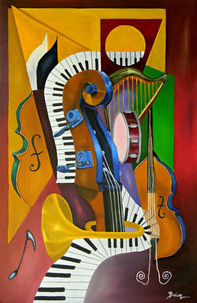Cello Wall Art - Painting - Jammin With Jc by Brien Cole