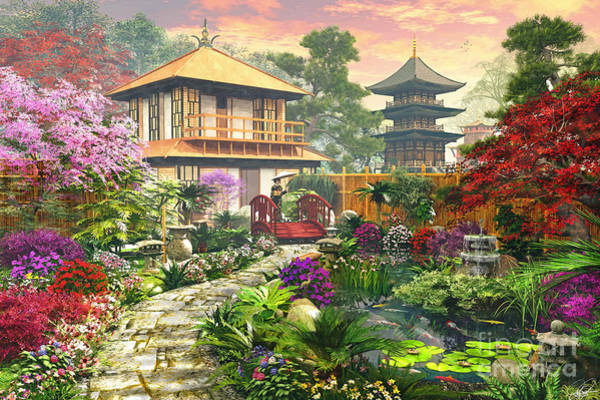 Pads Digital Art - Japan Garden by Dominic Davison