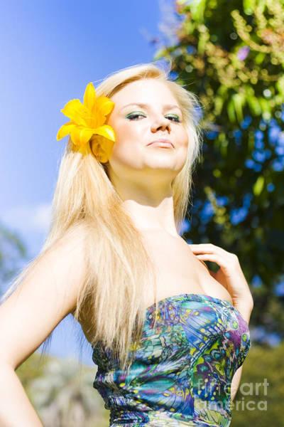 Jaunty Beauty With Flower Art Print