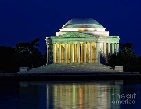 Photograph - Jefferson Memorial At Night by Nick Zelinsky