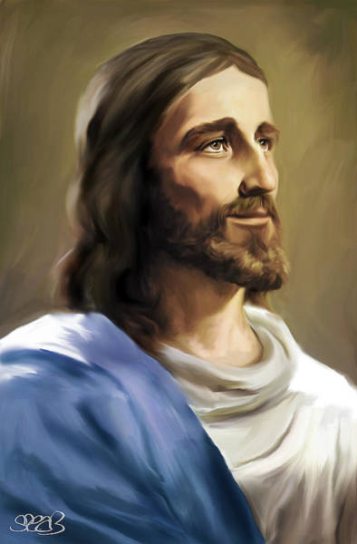 Wall Art - Painting - Jesus Face by Mark Spears