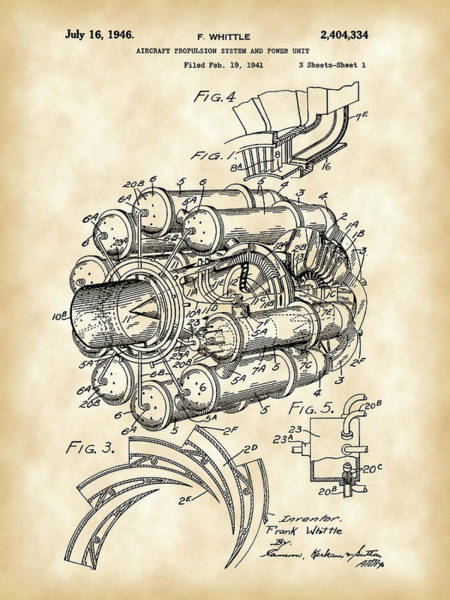 Wall Art - Digital Art - Jet Engine Patent 1941 - Vintage by Stephen Younts