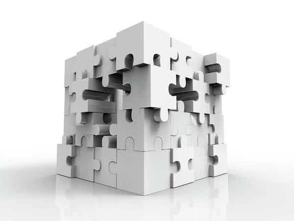 Wall Art - Photograph - Jigsaw Puzzle Cube by Alfred Pasieka/science Photo Library