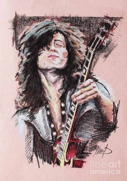 Rock Music Jimmy Page Wall Art - Painting - Jimmy Page 1 by Melanie D