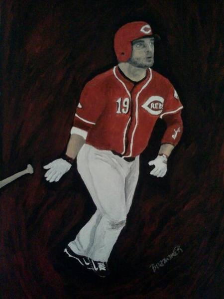 Hitter Painting - Joey Votto by Christy Saunders Church