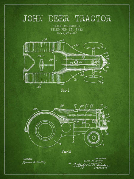 Farming Digital Art - John Deer Tractor Patent Drawing From 1932 - Green by Aged Pixel