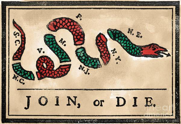 Painting - Join Or Die Cartoon 1754 by Benjamin Franklin