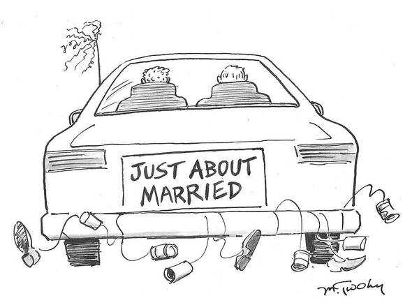 Gay Marriage Drawing - Just About Married by Mike Twohy