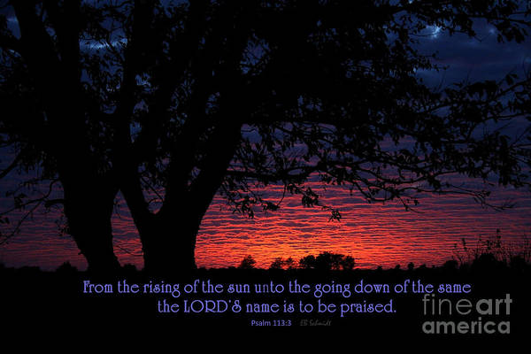 Photograph - Kansas Sunset - Psalm 113 by E B Schmidt