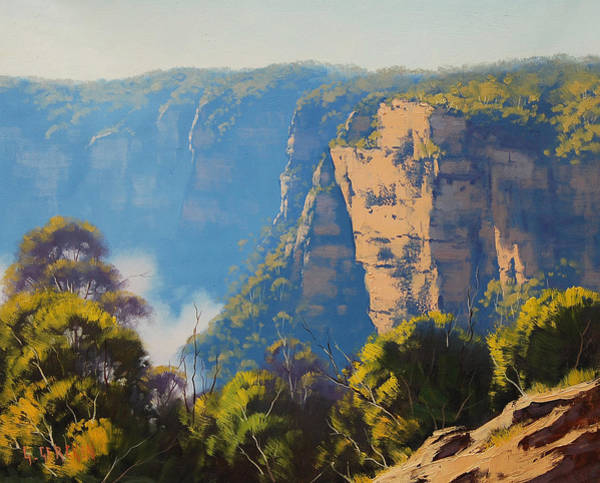 Three Sisters Wall Art - Painting - Katoomba Cliffs by Graham Gercken