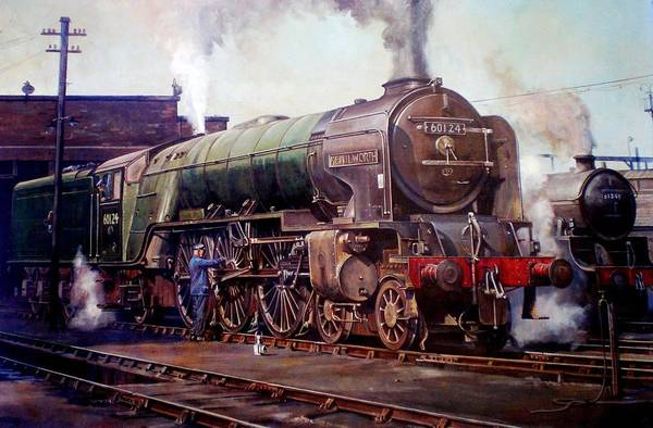 Vintage Train Painting - Peppercorn Pacific Kenilworth On Shed. by Mike Jeffries