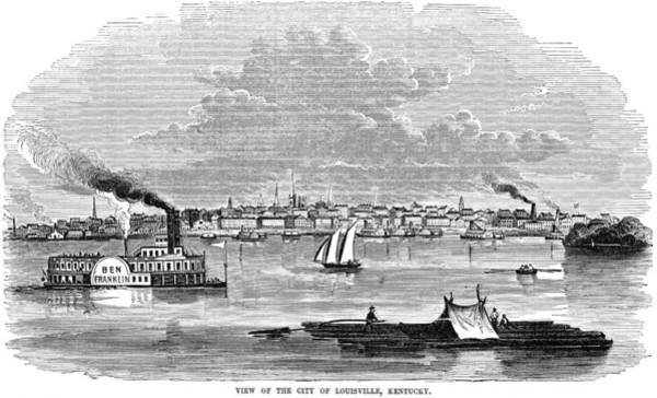 Riverboat Painting - Kentucky Louisville, 1854 by Granger