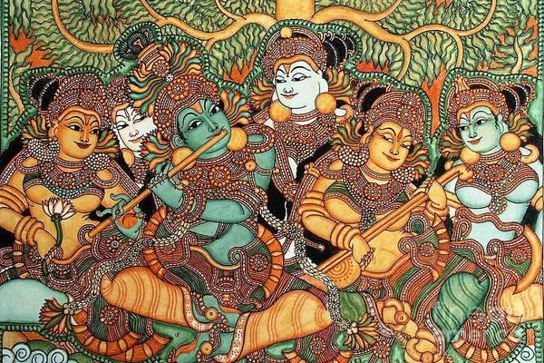Kerala Wall Art - Painting - Kerala Mural Painting by Pg Reproductions