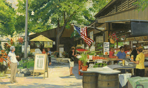 Flower Market Painting - Kirkwood Farmers Market American Flag by Don  Langeneckert