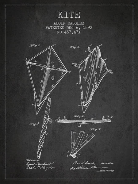 Kite Wall Art - Digital Art - Kite Patent From 1892 by Aged Pixel