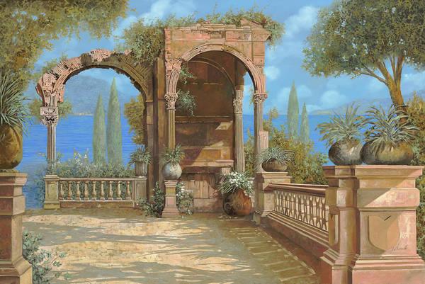 Ruined Wall Art - Painting - La Terrazza Sul Lago by Guido Borelli
