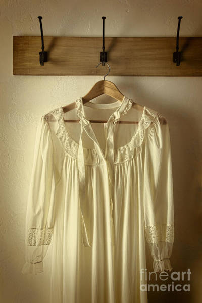 Photograph - Lace Night Gown Hanging On Hook by Sandra Cunningham