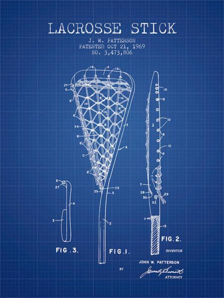 Stick Digital Art - Lacrosse Stick Patent From 1970 -  Blueprint by Aged Pixel