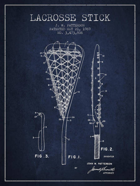 Stick Digital Art - Lacrosse Stick Patent From 1970 -  Navy Blue by Aged Pixel