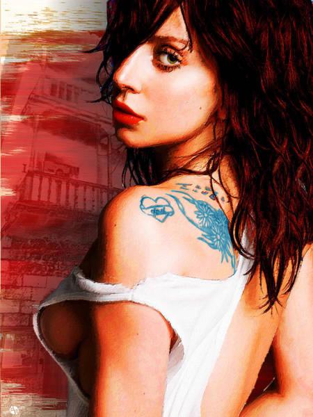 Painting - Lady Gaga Blue Tattoo by Tony Rubino
