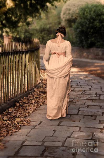 Wall Art - Photograph - Lady In Regency Dress Walking by Jill Battaglia