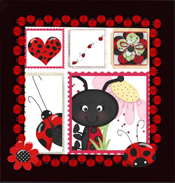 Digital Art - Ladybug Burst by Debra  Miller